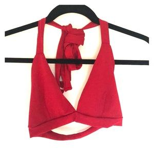 Red crop halter top with long straps